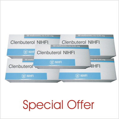 Clenbuterol 4 boxes (200 tabs/20mcg)+1 box (50 tabs) FOR FREE